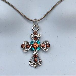 Designer crystal cross necklace